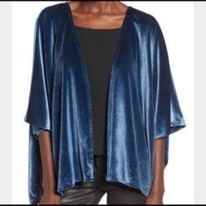 NWOT Angie Blue Velvet Kimono Cardigan